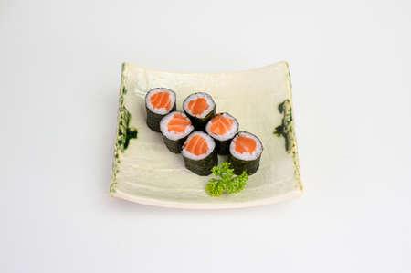 Salmon sushi nigiri japanese cuisine. isolated on white background