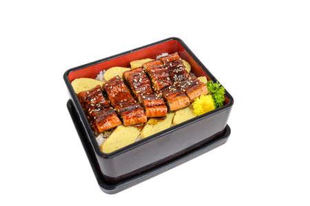 Unagi smoked sushi nigiri japanese cuisine. isolated on white background Imagens