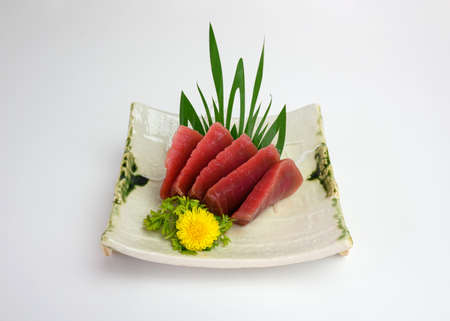 Japanese roll salmon cheese smoked with vegetable filled set on ceramic dish Imagens