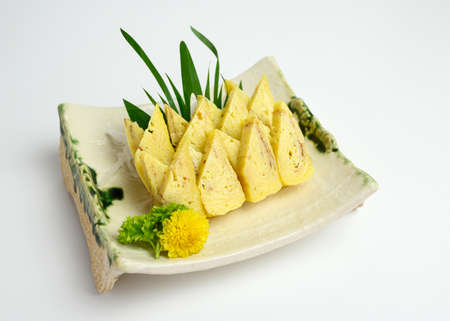Japanese roll salmon cheese smoked with vegetable filled set on ceramic dish Reklamní fotografie