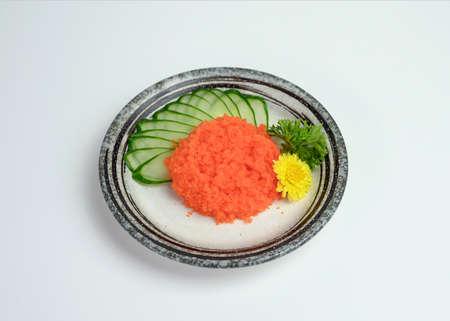 Sashimi Crab sticks or Kani of japanese food on ceramic plate Imagens