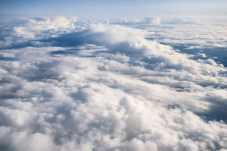Above of Fluffy white clouds in the sky