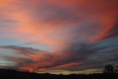 Oregon Sunset.  Photo taken along I-5 in Oregon. Stock Photo