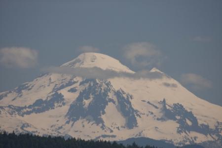Mount Baker - Photo taken from Island Adventures III tour boat in the San Juan Islands, Washington. Stock Photo