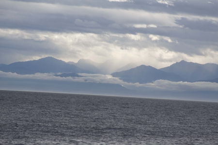 Ocean View of Olympic Mountains Stock Photo