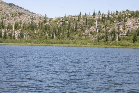 meta: Meta Lake at Mount Saint Helens National Volcanic Monument, Washington.