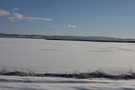 lower klamath: Snow Covered Landscape  at Lower Klamath National Wildlife Refuge, California.
