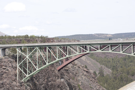 High Bridge Viewpoint, Crooked River Gorge, Oregon. Highway 97. Stock Photo