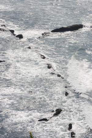Ocean Waves.  Photo taken at Cape Foulweather Viewpoint, Oregon Coast along Highway 101. Stock Photo