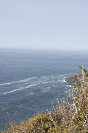 Oregon Seascape.  Photo taken at Cape Foulweather Viewpoint, Oregon Coast along Highway 101. Stock Photo