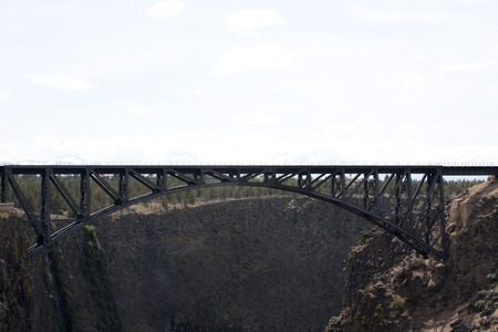 crooked: Crooked River Gorge High Brigde Viewpoint, Highway 97 Oregon. Stock Photo