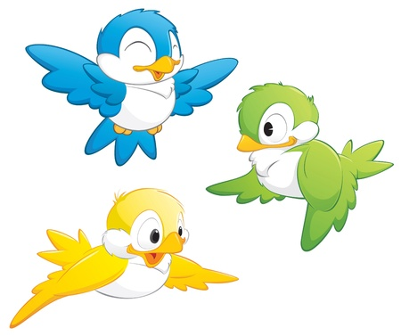 Cute cartoon birds in three colors for design element