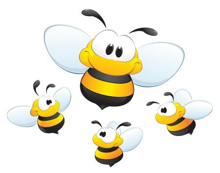 귀여움: 디자인 요소에 대 한 귀여운 만화 꿀벌 일러스트