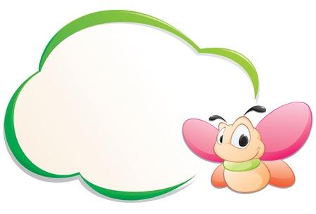 cartoon frame: Cartone animato farfalla carino con telaio per elemento di design Vettoriali
