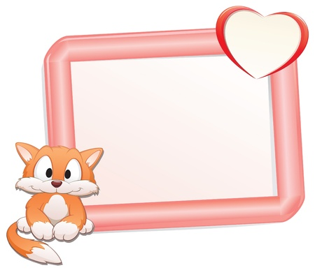 cartoon frame: Cute cartoon catkitten with frame for design element Illustration