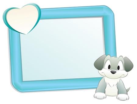 Carino cane cartone animato / cucciolo con telaio per elemento di design Archivio Fotografico - 10837214