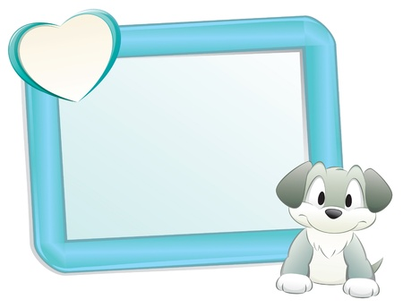 Cute cartoon dog/puppy with frame for design element Stock Vector - 10837214