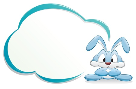 Cute cartoon bunnyrabbit with frame for design element