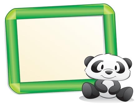 Panda carino cartone animato con telaio per elemento di design Archivio Fotografico - 10837211