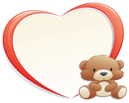 love image: Teddy Bear with heart-shaped frame for design element Illustration
