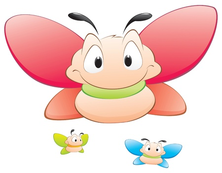Three cute cartoon  butterflies. Isolated objects for design element. Illustration