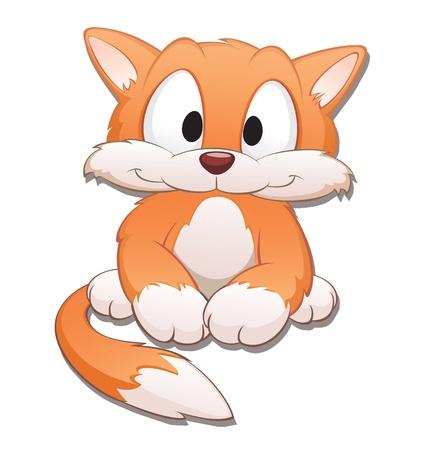 gato caricatura: Lindo gato de dibujos animados. Objetos aislados de elementos de diseño.