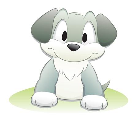 perro caricatura: Perro lindo de la historieta. Objetos aislados de elementos de diseño. Vectores