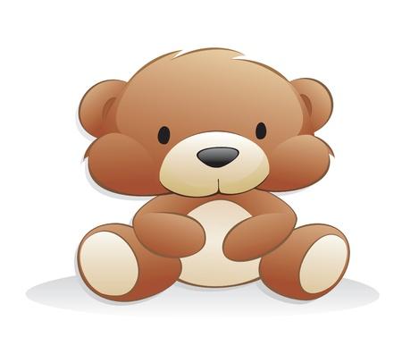 ourson: Mignon dessin anim� ours en peluche. Objets isol�s pour l'�l�ment de conception.