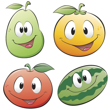 Cute cartoon fruits. Isolated objects for design element. Ilustração
