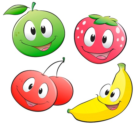funny fruit: Cute cartoon fruits. Isolated objects for design element. Illustration