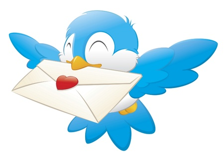 romantic picture: Cartoon vector illustration of a blue bird delivering love letter.
