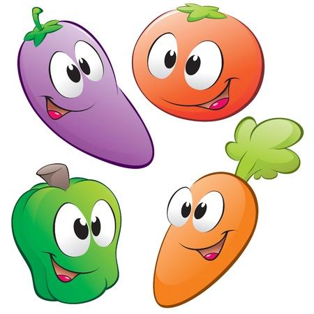 zanahoria caricatura: Un conjunto de vegertables de dibujos animados. Objetos aislados de elementos de diseño.