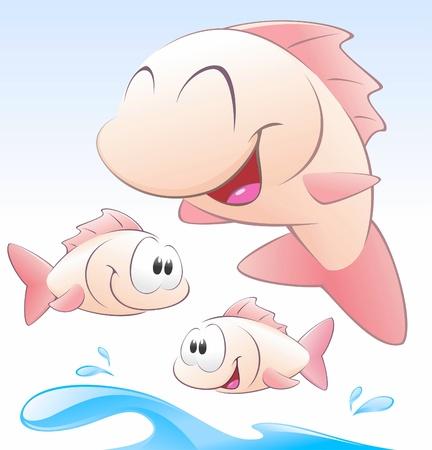 fischerei: Vector illustration von drei Comic-Fische und Spritzwasser. Gruppierte und geschichteten f�r die einfache Bearbeitung