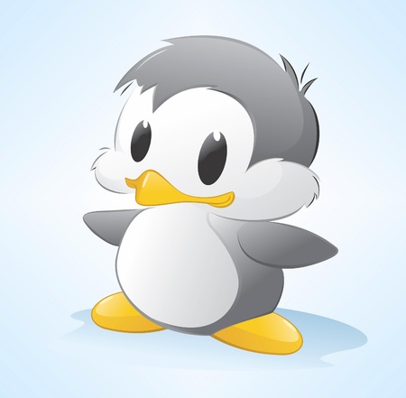 cartoon penguin: illustration of a cute cartoon penguin. Grouped and layered for easy editing