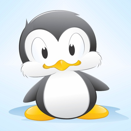 penguins:  illustration of a cute cartoon penguin. Grouped and layered for easy editing