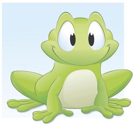 illustration of a cute cartoon frog. Grouped and layered for easy editing