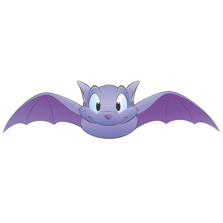 at bat: Vector illustration of a cute cartoon bat. Grouped for easy editing