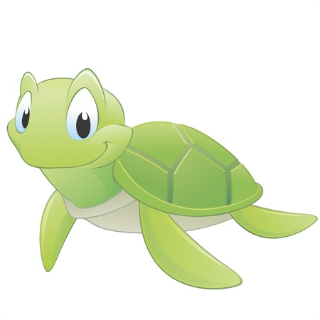 sea green: Vector illustration of a cute cartoon turtle. Grouped for easy editing
