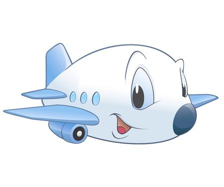 귀여운 만화 비행기의 벡터 일러스트 레이 션. 방사형 그라데이션 없음  투명성  그라디언트 메쉬.