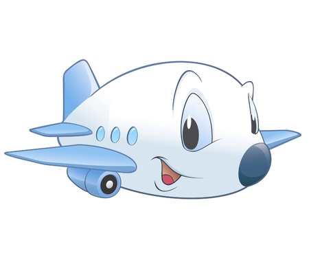 Vector illustration of a cute cartoon airplane. No radial gradient  transparency  gradient mesh.