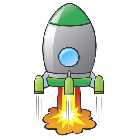 illustration of a cartoon rocket Vector