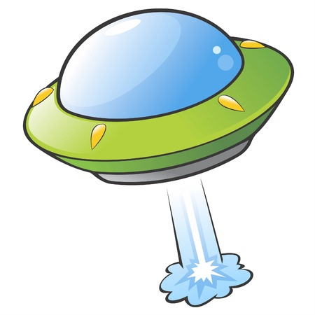 flying saucer:  illustration of a cartoon flying saucer
