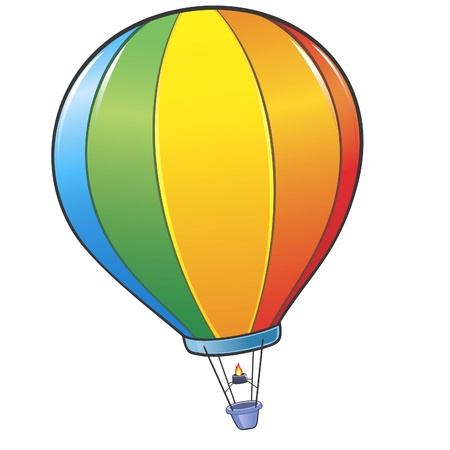 illustration of a colorful cartoon hot air balloon