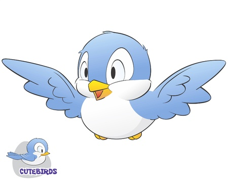 illustration of a cute cartoon bird
