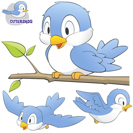illustration of a set of cute cartoon birds.  Vector