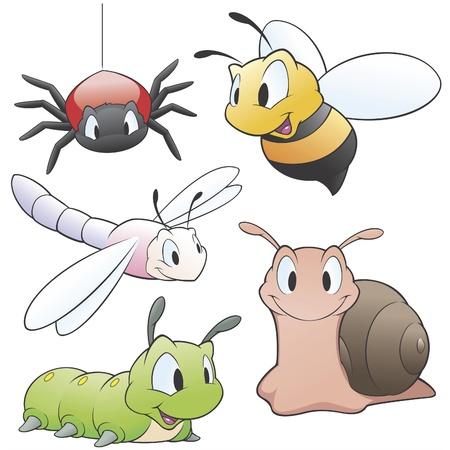 oruga: Ilustración vectorial de un conjunto de animales de dibujos animados de jardín para los elementos de diseño. Agrupados y en capas para facilitar la edición