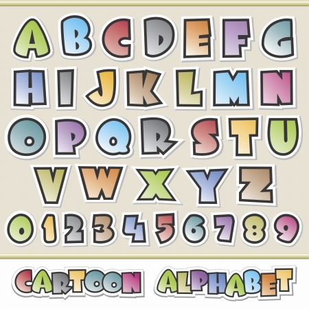 디자인 요소에 대한 다채로운 만화 알파벳의 벡터 일러스트 레이 션 그룹화됩니다 및 쉬운 편집을위한 계층