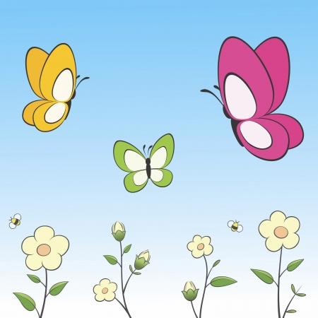 Illustration of cartoon butterflies and flowers. Grouped and layered for easy editing