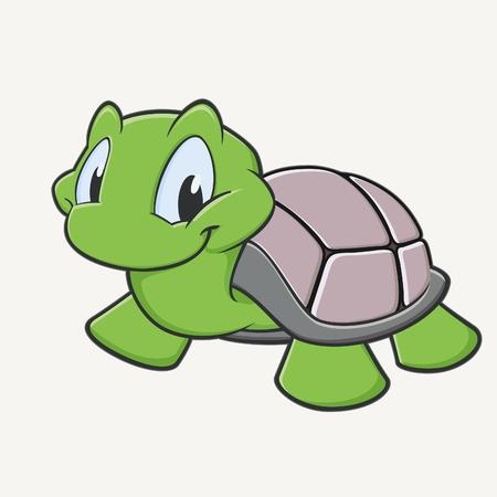 Ilustración vectorial de una tortuga de la historieta tiernamente sonriendo