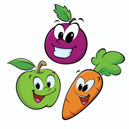 Cartoon fruits. Isolated objects for design element